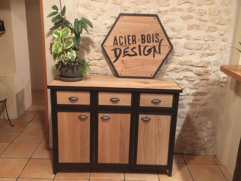mes r alisations de meubles en acier et bois. Black Bedroom Furniture Sets. Home Design Ideas